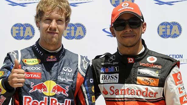 Hamilton vence. Vettel põe a mão na taça