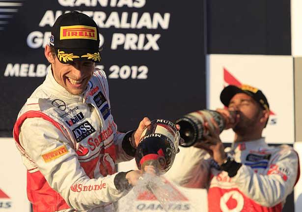 Button e Hamilton - pódio Melbourne 2012