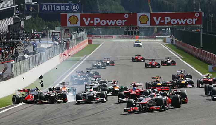 Largada do GP da Bélgica em Spa-Francorchamps 2012