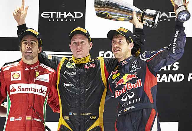 Alonso, Kimi e Vettel no pódio de Abu Dhabi