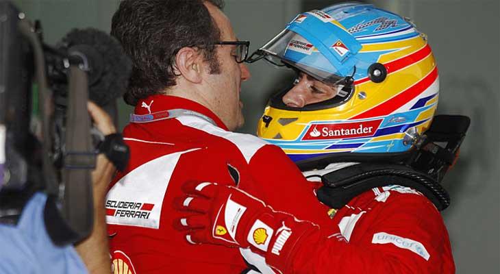 Stefano Domenicali e Fernando Alonso na Ferrari