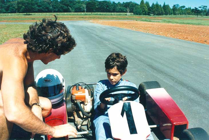 Ayrton e Bruno Senna na fazenda da família