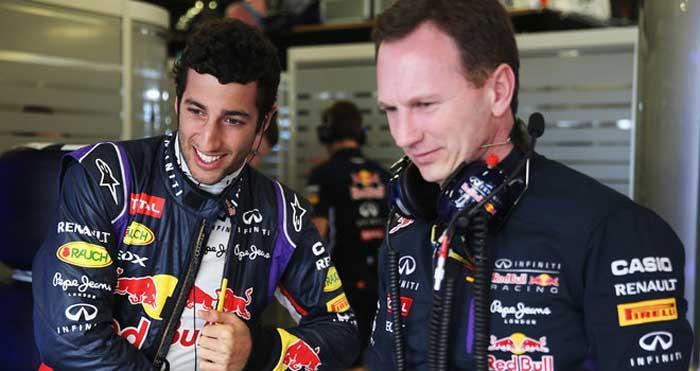 Daniel Ricciardo e Christian Horner