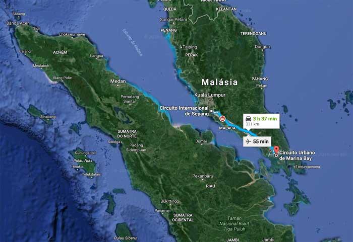 Pista de rua de Cingapura fica a 331 km do circuito de Sepang, na Malásia