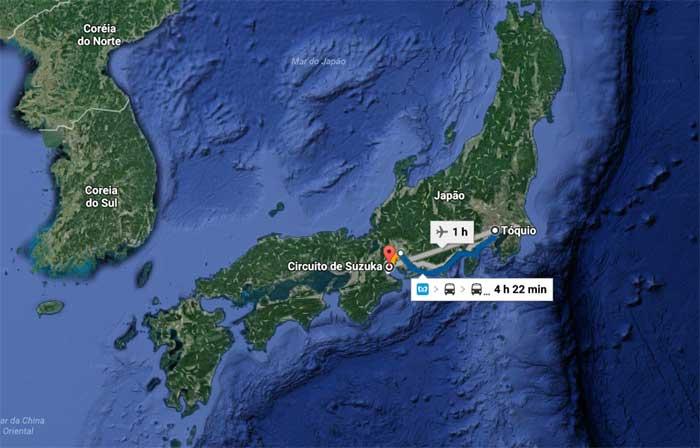 Suzuka fica a 388 km de Tóquio