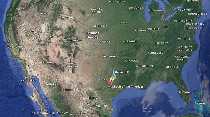Circuito das Américas (Austin) fica a 333 km ao sul de Dallas