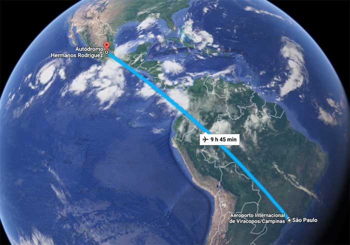 O Autódromo Hermanos Rodriguez (Cidade do México) fica a 9h45min de voo de São Paulo
