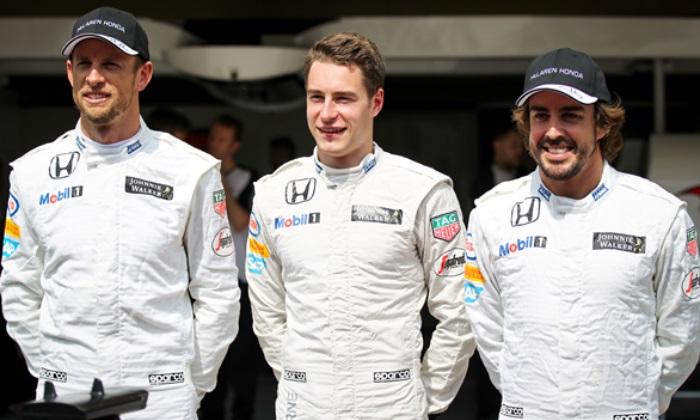 Jenson Button, Stoffel Vandoorne e Fernando Alonso