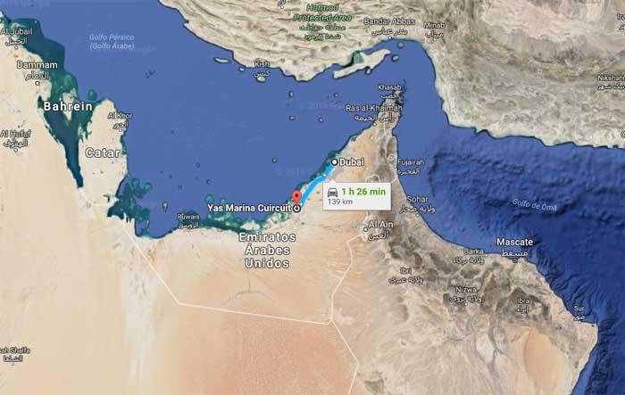Circuito de Yas Marina (Abu Dhabi) fica a 139 km de Dubai