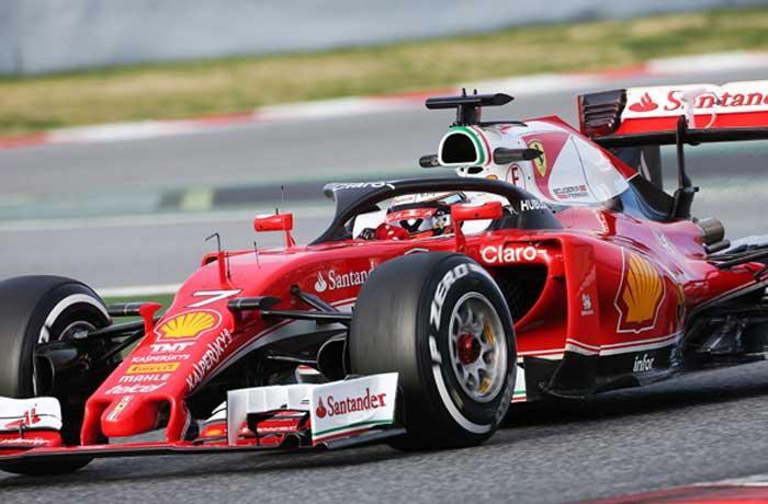 Kimi Raikkonen com o halo de proteção