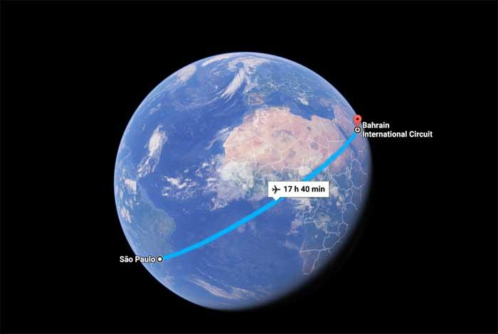 São Paulo- Bahrain são 17h40min de voo