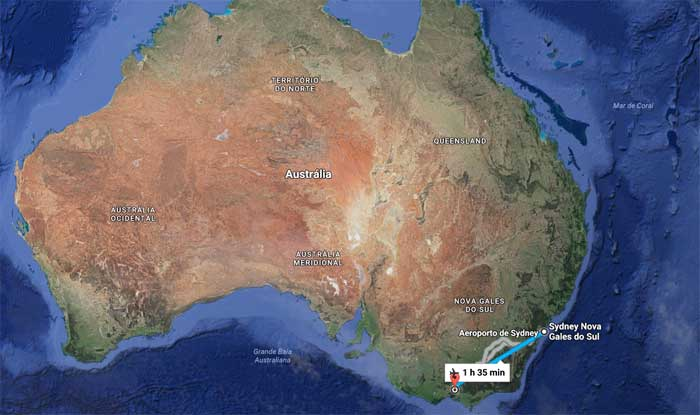 Sydney - Melbourne são 1h35min de voo