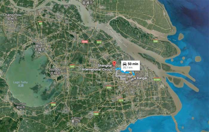Circuito fica 35 km a oeste do centro de Xangai