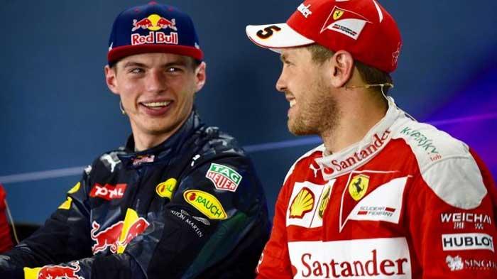 Max Verstappen e Sebastian Vettel