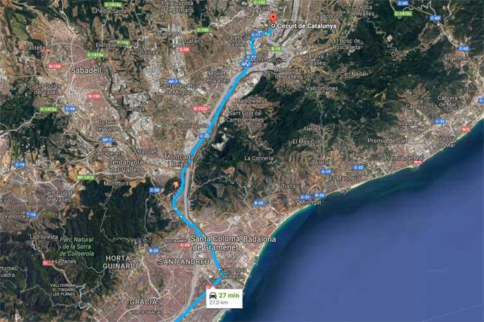Pista fica localizada 27 km ao norte de Barcelona