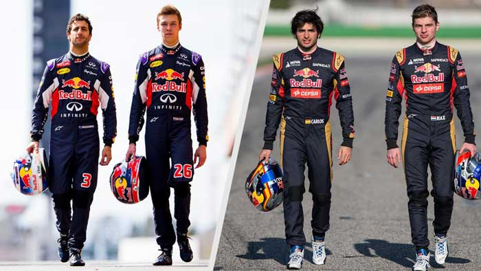 Ricciardo, Kvyat, Sainz e Verstappen