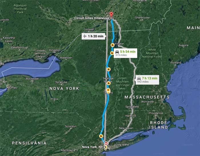Cidade de Nova York - Montreal são 600 km de carro