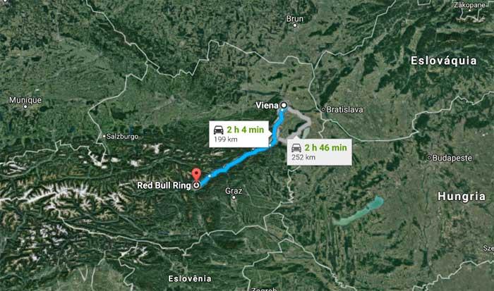Viena - Red Bull Ring são 199 km de carro