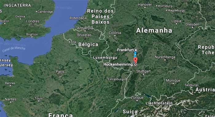 Frankfurt - Hockenheim são 95,5 km de carro