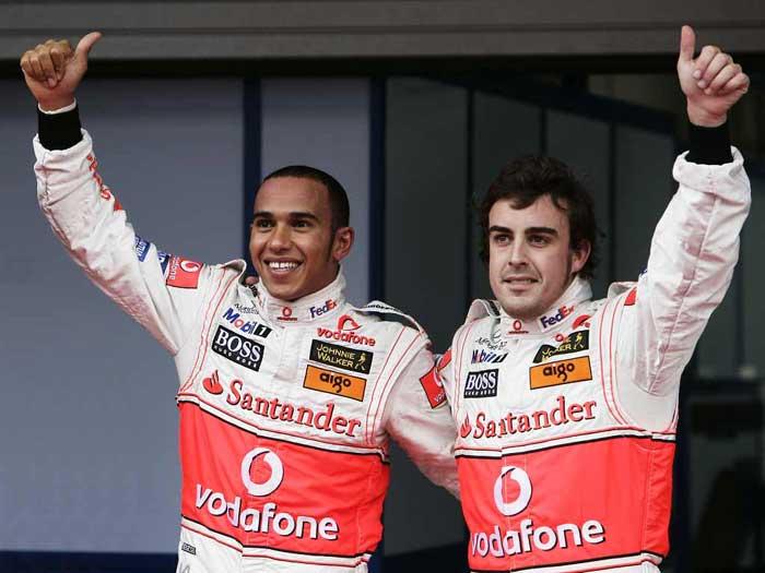 Hamilton e Alonso em 2007 na McLaren