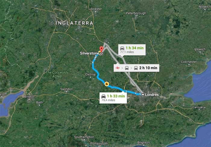 Londres - Silverstone são 128 km de carro