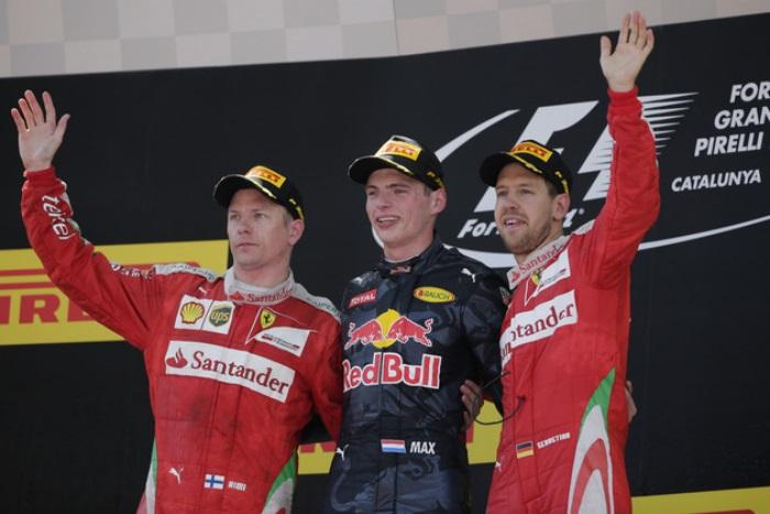 Kimi Raikkonen, Max Verstappen e Sebastian Vettel