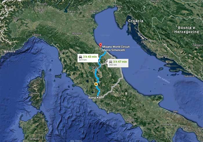 Roma - Misano 324 km de carro