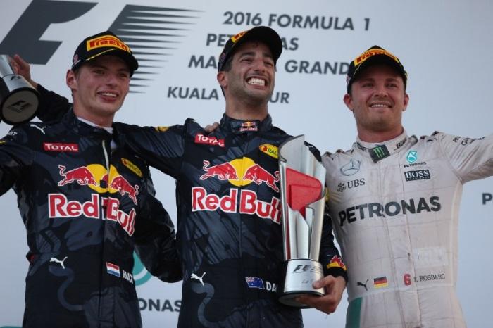 Max Verstappen, Daniel Ricciardo e Nico Rosberg