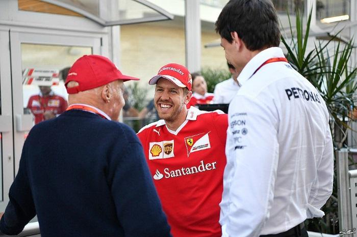 Niki Lauda, Sebastian Vettel e Toto Wolff