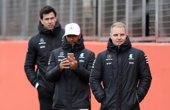 Toto Wolff, Lewis Hamilton e Valtteri Bottas