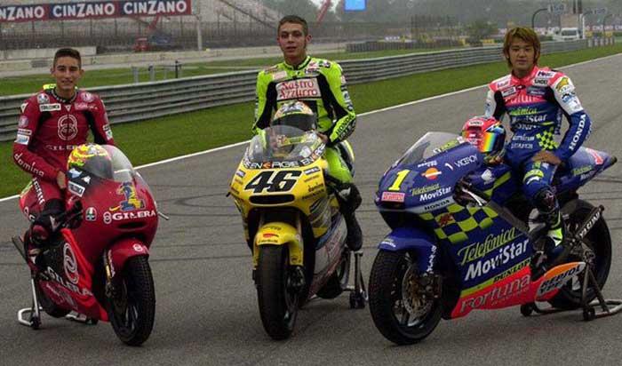Valentino Rossi, Daijiro Kato e Manuel Poggiali - Rio 2001