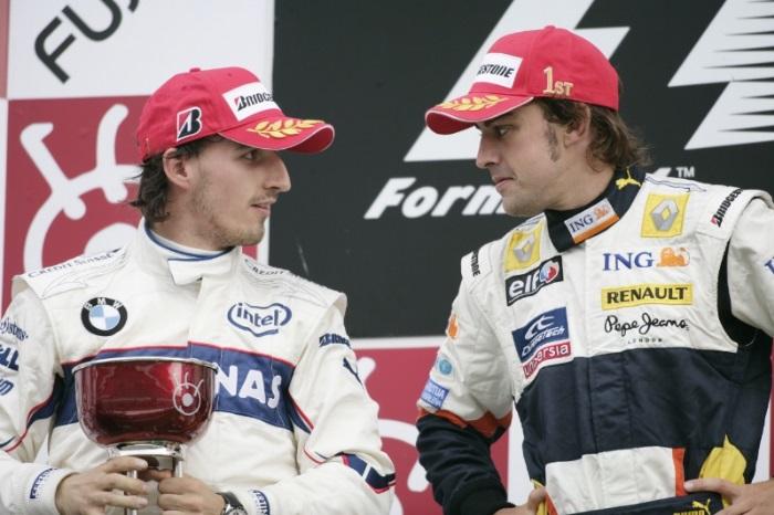Robert Kubica e Fernando Alonso no GP do Japão de 2008