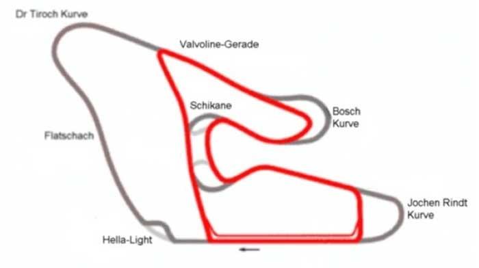 Österreichring escuro e Red Bull Ring em vermelho