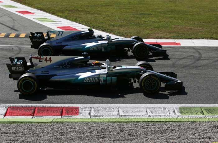 Hamilton e Bottas comemoram em Monza