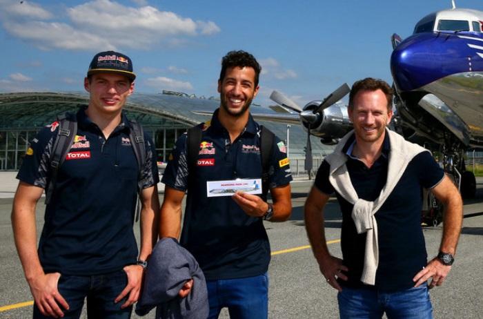 Max Verstappen, Daniel Ricciardo e Christian Horner